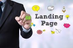 Biznesmena lądowania strony rysunkowy pojęcie obrazy stock