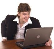 biznesmena laptopu biuro Zdjęcia Royalty Free