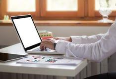 biznesmena laptopu biuro Zdjęcie Royalty Free