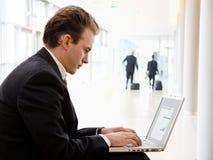 biznesmena laptopu działanie obraz royalty free