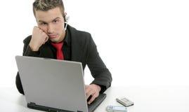 biznesmena laptopu mikrofonu potomstwa Zdjęcia Stock