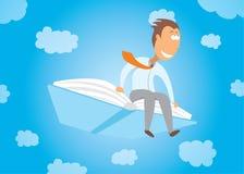 Biznesmena latanie na książce Zdjęcia Royalty Free