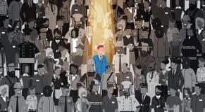 Biznesmena lider Stoi Out Od tłum jednostki, światła reflektorów dzierżawienia działu zasobów ludzkich kandydata grupy Rekrutacyj ilustracja wektor
