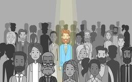 Biznesmena lider Stoi Out Od tłum jednostki ilustracji