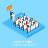 Biznesmena lider Z gadka bąbla sala konferencyjnej spotkania kopii Grupowej przestrzeni 3d Isometric ludźmi biznesu royalty ilustracja