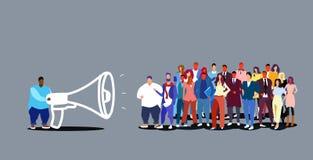 Biznesmena lider zespołu mienia megafonu biznesowy mężczyzna ogłasza ewidencyjnego mówienie w głośniku biznesmeni ilustracja wektor