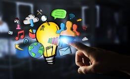 Biznesmena macania multimedii i lightbulb ręki rysować ikony Obrazy Royalty Free