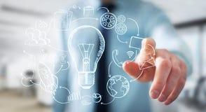 Biznesmena macania multimedii i lightbulb ręki rysować ikony Obrazy Stock