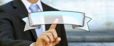 Biznesmena macania sztandaru ręka rysująca ikona Zdjęcia Royalty Free