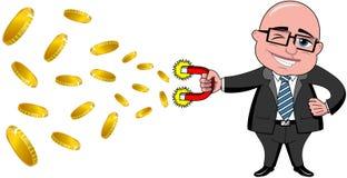 Biznesmena magnesu Łysy pieniądze Odizolowywający ilustracja wektor