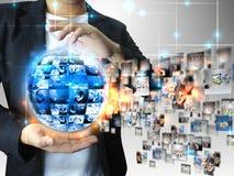 Biznesmena mienia biznesu świat obraz stock