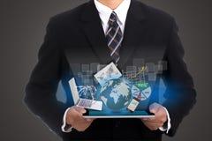 Biznesmena mienia dotyka ochraniacz zdjęcia stock