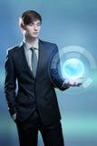 Biznesmena mienia hologram ziemia Zdjęcie Stock