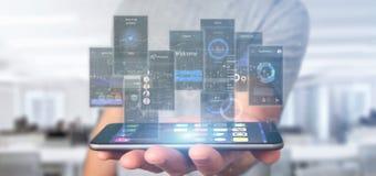 Biznesmena mienia interfejs użytkownika ekrany z ikony, stats i dane 3d renderingiem, zdjęcie stock