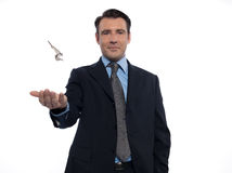 biznesmena mienia kluczy mężczyzna pośrednik handlu nieruchomościami target699_0_ Obrazy Royalty Free