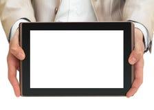 biznesmena mienia komputeru osobisty pastylka zdjęcia royalty free