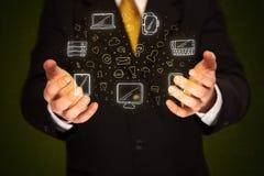 Biznesmena mienia networking ikony Obrazy Royalty Free