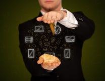 Biznesmena mienia networking ikony Zdjęcie Royalty Free