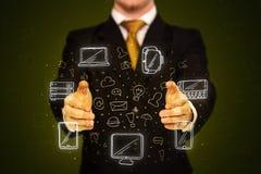 Biznesmena mienia networking ikony Obraz Stock