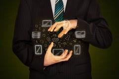 Biznesmena mienia networking ikony Zdjęcia Stock