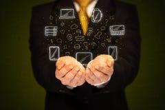 Biznesmena mienia networking ikony Obraz Royalty Free