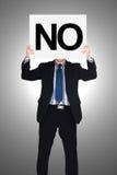 Biznesmena mienia papier który mówić nie Obrazy Royalty Free