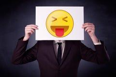 Biznesmena mienia papier z emoticon Zdjęcie Royalty Free