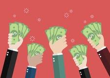 Biznesmena mienia pieniądze dla aukcyjny licytować Zdjęcie Stock