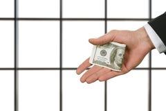 Biznesmena mienia pieniądze w biurze obraz stock