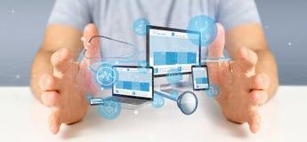 Biznesmena mienia przyrząda z medyczną ikoną 3d i stetoskopem obraz royalty free