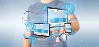 Biznesmena mienia przyrząda z medyczną ikoną 3d i stetoskopem zdjęcia stock