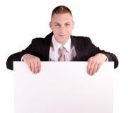 Biznesmena mienia pustego miejsca plakat Zdjęcie Stock