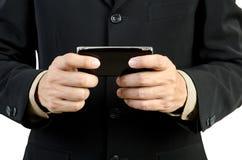 Biznesmena mienia telefon komórkowy Fotografia Royalty Free