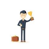 Biznesmena mienia trofeum royalty ilustracja