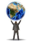 Biznesmena mienia ziemi kula ziemska Obraz Stock