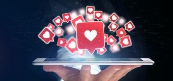 Biznesmena mienie Jak powiadomienie na ogólnospołeczni środki 3d odpłaca się obraz stock