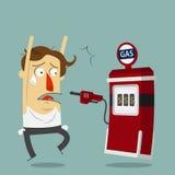 Biznesmena obrabować benzynową stacją Obrazy Stock