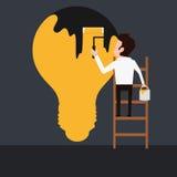 Biznesmena obrazu zmroku żarówka Obrazy Stock