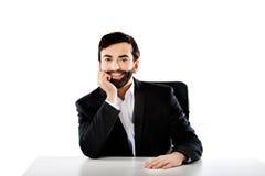 Biznesmena obsiadanie przy biurkiem Obraz Stock