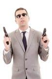 Biznesmena ochroniarz odizolowywający na bielu obrazy stock