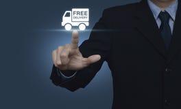 Biznesmena odciskania doręczeniowej ciężarówki bezpłatna ikona na błękitnym tle Zdjęcia Royalty Free