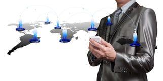Biznesmena odciskanie na cyfrowym wirtualnym ekranie, dział zasobów ludzkich m zdjęcie royalty free