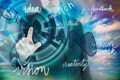 Biznesmena odciskanie na guziku cyfrowy wirtualny ekran ilustracja wektor