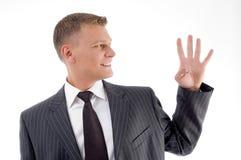 biznesmena odliczający palców ja target3536_0_ Obrazy Stock