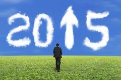 Biznesmena odprowadzenie dla bielu 2015 chmury i niebieskie niebo trawy Obrazy Stock