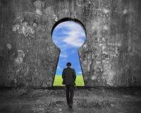 Biznesmena odprowadzenie w kierunku keyhole drzwi z niebo chmur trawą vi Zdjęcie Royalty Free