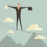 Biznesmena odprowadzenie w równowadze na arkanie nad niebieskim niebem Zdjęcie Royalty Free