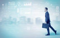 Biznesmena odprowadzenie z bazy danych pojęciem wokoło Obraz Royalty Free