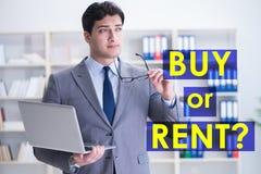 Biznesmena okładzinowy dylemat kupienie versus wynajmowanie obraz stock