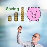 Biznesmena oszczędzania rysunkowy pojęcie zdjęcia stock